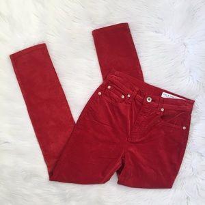 Rag and Bone Red Velvet High Waisted Skinny Jeans